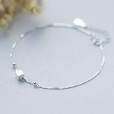 Square Cube Silver Foot Anklet