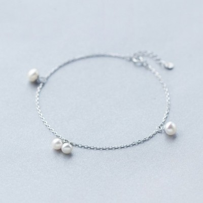 White  Pearl Silver Foot Anklet