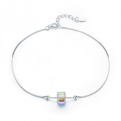 colourful Aumtrian Crystal Cube Silver Foot Anklet