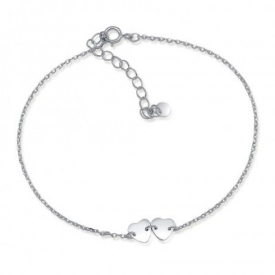 Heart Heart  Silver Anklet