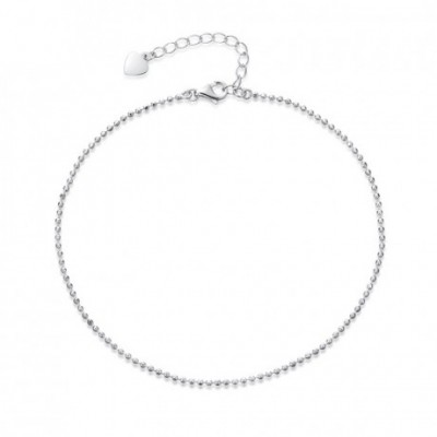 White Silver Bead Silver Foot Anklet