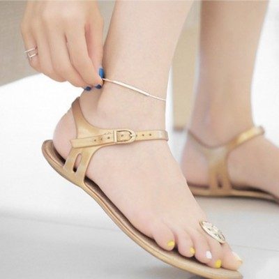 Curve Bend Cable Silver Foot Anklet