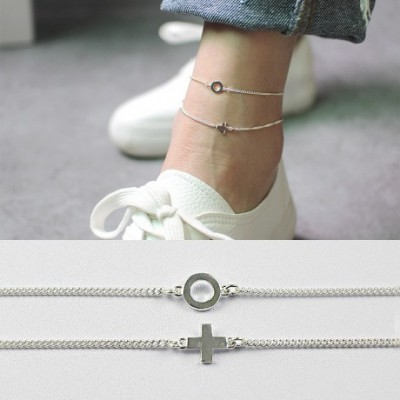 Round Circle Cross Silver Foot Anklet