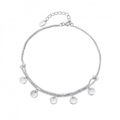 Dangle Silver Bean Silver Double Layer Foot Anklet