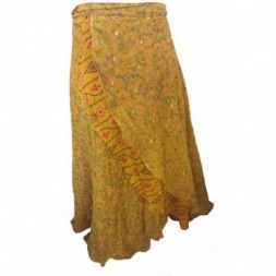 Yellow Full Length Silk  Sari
