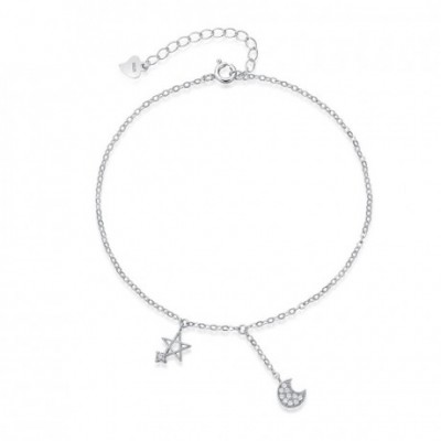 White  Gemstone Moon Star Silver Foot Anklet