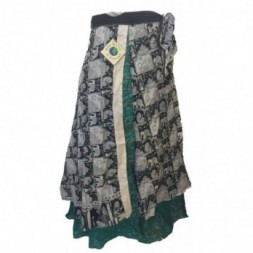 Green and Black - White Elephant Design Full length Silk...