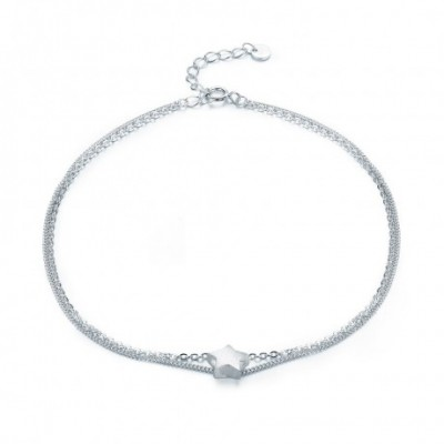 Five Star Silver Double Layer Anklet