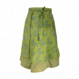 Lime Double Layered Midi Length Wrap Skirt