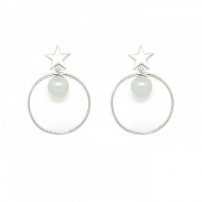Asymmetry White Shell Pearl Round Star Moon Silver Dangle...