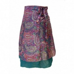 Pinks and Greens Double Layered Midi Length Wrap Skirt