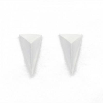 3D Triangle Silver Studs Earrings