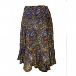 Purple Green Paisley Print Skirt