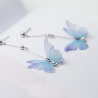 Butterfly Pearl Silver Dangle Earrings