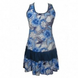 Blue - White Flower Design Sundress