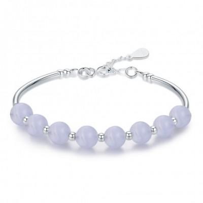 Blue Sodalite Bead Silver Bracelet