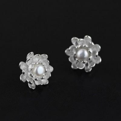 White Pearl Lotus Silver Studs Earrings