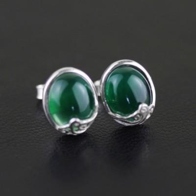 Agate & Chalcedony Gem Silver Studs Earrings