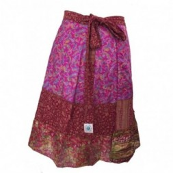Pink-Red Short Silk Sari