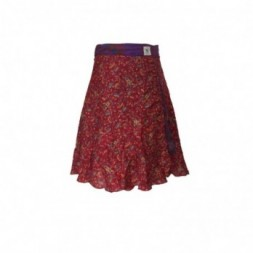 Red-Purple Short Silk Sari