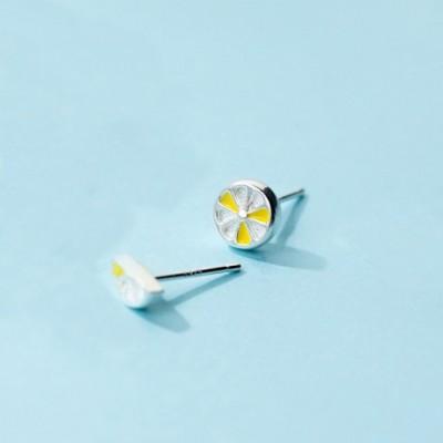Asymmetry Yellow Lemon Silver Studs Earrings