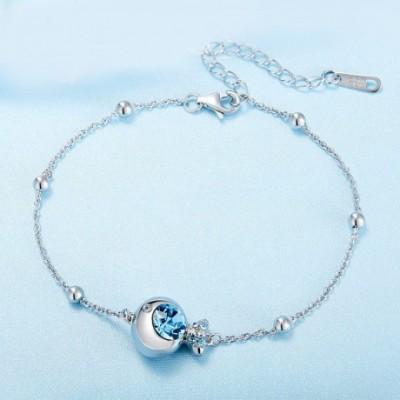 Blue Aumtrian Crystal Silver Fish Bracelet