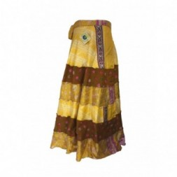 Yellows Tiered Full Length Silk Sari
