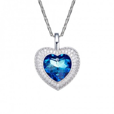 Blue Aumtrian Crystal Silver Love Heart Necklace
