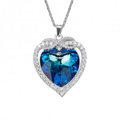 Blue Aumtrian Crystal Silver Infinity Heart Necklace