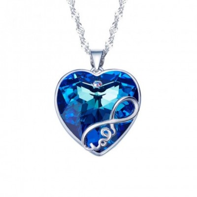 Blue Aumtrian Crystal Silver Romantic Love Heart Necklace