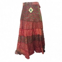 Brown-Red Tiered Full Length Silk Sari
