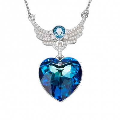Blue Aumtrian Crystal Silver Angel Wing Necklace