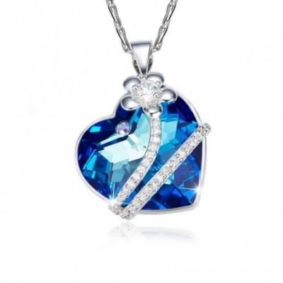 Blue Aumtrian Crystal Silver Bijou Flower Necklace