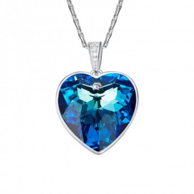 Blue Heart Aumtrian Crystal Silver Necklace
