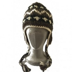Black, White and Brown Tibetan Design Earflap Hat