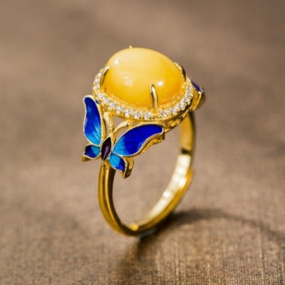 Butterfly Enamel & Amber Gold-plated Adjustable Ring
