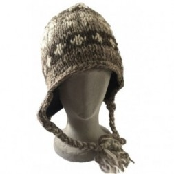 Brown Grey White Tibetan Design Earflap Hat