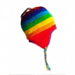 Rainbow Hand-Knitted Earflap  Adult Hat