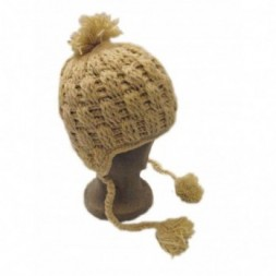 Cream Hand-knitted fleece lined Cableknit Earflap Bobble Hat