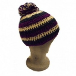 Purple, White, Blue Stripes fleece-lined hand-knitted...