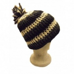 Black White Striped  fleece-lined  Bobble Hat
