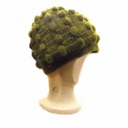 New Style Khaki Green Bobbly Bobble Hat