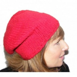 Hand-knitted Red Slouch fleece-lined Beanie Hat