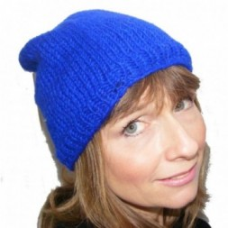 Hand-knitted Blue Slouch fleece-lined Beanie Hat