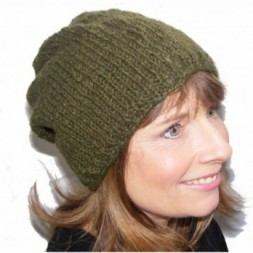 Hand-knitted Khaki Green Slouch fleece-lined Beanie Hat