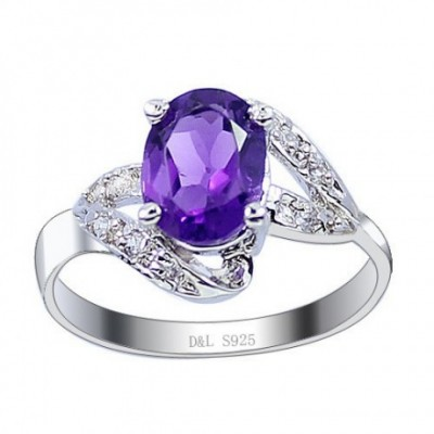 Amethyst Silver Rose Gold  Gemstone Ring