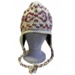 Cream Hand-knitted fleece-lined earflap Hat