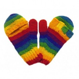 Handknitted  Rainbow Fingerless Gloves with mitten cover