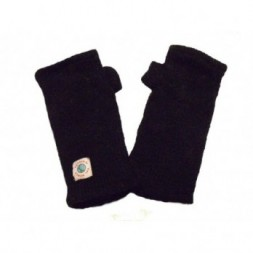 Hand knitted Fleece Lined  Black Wrist Warmers - Arm Warmers