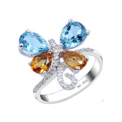 Butterfly Topaz Silver Ring
